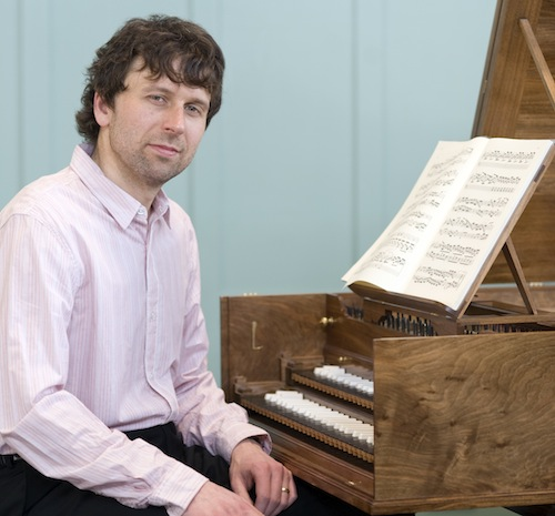 Photo of Robin Bigwood with harpsichord