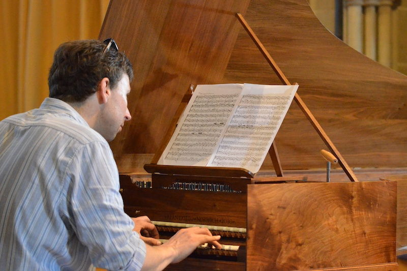 Playing 1667 harpsichord in Brockenhurst